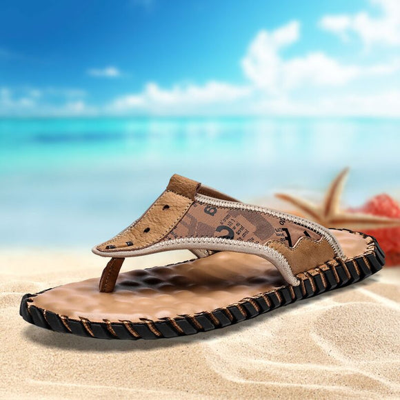 Hizada Men's Big Size Summer Outdoor Handmade Leather Flip Flops Beach Slippers Sandals