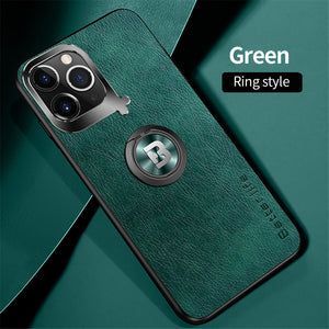 Hizada Luxury Shockproof Leather Armor Magnetic Ring Holder Case For iPhone 11/Pro/Max X XR XS MAX 8 7 6S 6/Plus