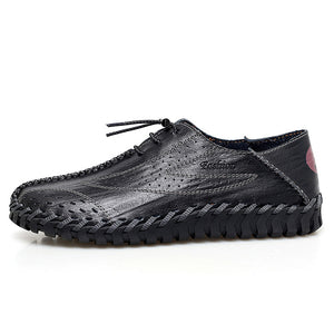 Hizada New Men's Breathable Mesh Soft Leather Casual Shoes