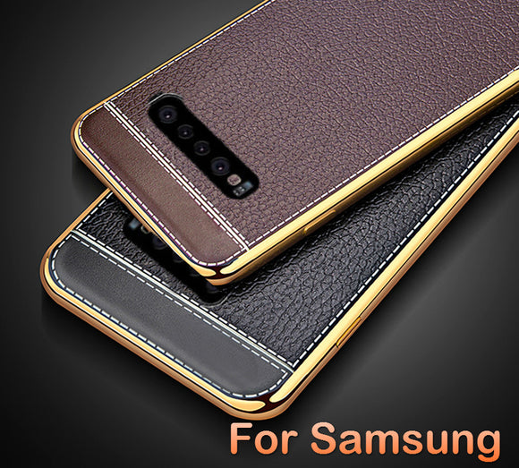 Luxury Ultra Thin Shockproof Plating Bumper Leather Case For Samsung