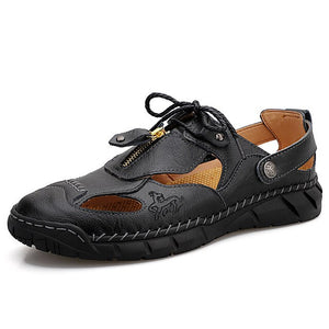 Hizada Summer Men's Casual Handmade Soft Leather Sandals