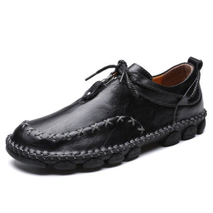 Hizada Men's Stylish Handmade Leather Soft Casual Driving Shoes