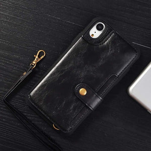 Vintage PU Leather Multi Card Holders Phone Case For iPhone