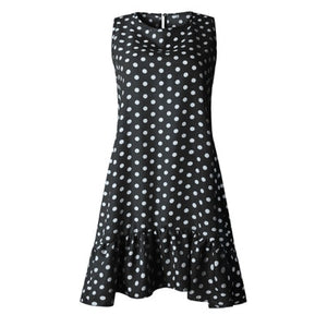 Street Sexy Casual Slim Thin Beach Party O Neck Mini Polka Dot Dress