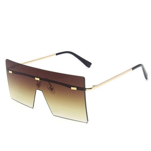 Women's Rimless Metal Frame Square Sunglasses