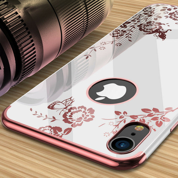 Flower Floral Clear Plating Phone Case For iPhone 11 X XR XS MAX 8 7 6S 6/Plus