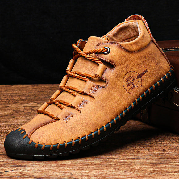 Hizada New Men's Casual Comfy Soft Leather Lace Up Ankle Boots(Buy 2 Get 10% OFF, 3 Get 15% OFF)