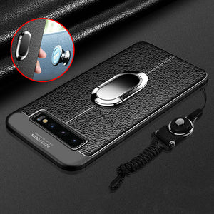 Luxury Litchi Silicone Magnetic Car Holder Case For Samsung S10/Plus/E Note 9/8 S9 S8/Plus S7/Edge With FREE Strap