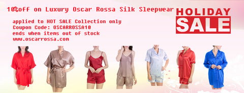 Oscar Rossa Luxury 100%Silk Sleepwear Holiday Sales