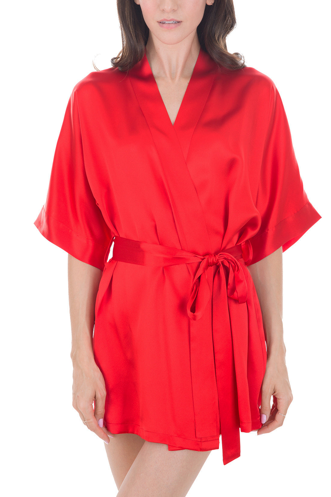 Women's Luxury Silk Sleepwear Sexy 100% Silk Short Robe, Red -OSCAR ROSSA