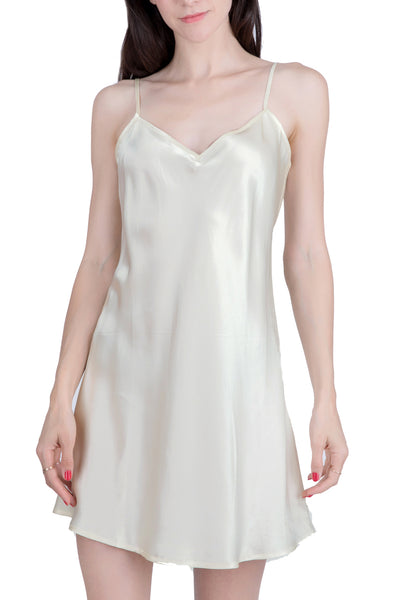 Women's Luxury Silk Sleepwear 100% Silk Slip Chemise Babydoll Lingerie Nightgown -
