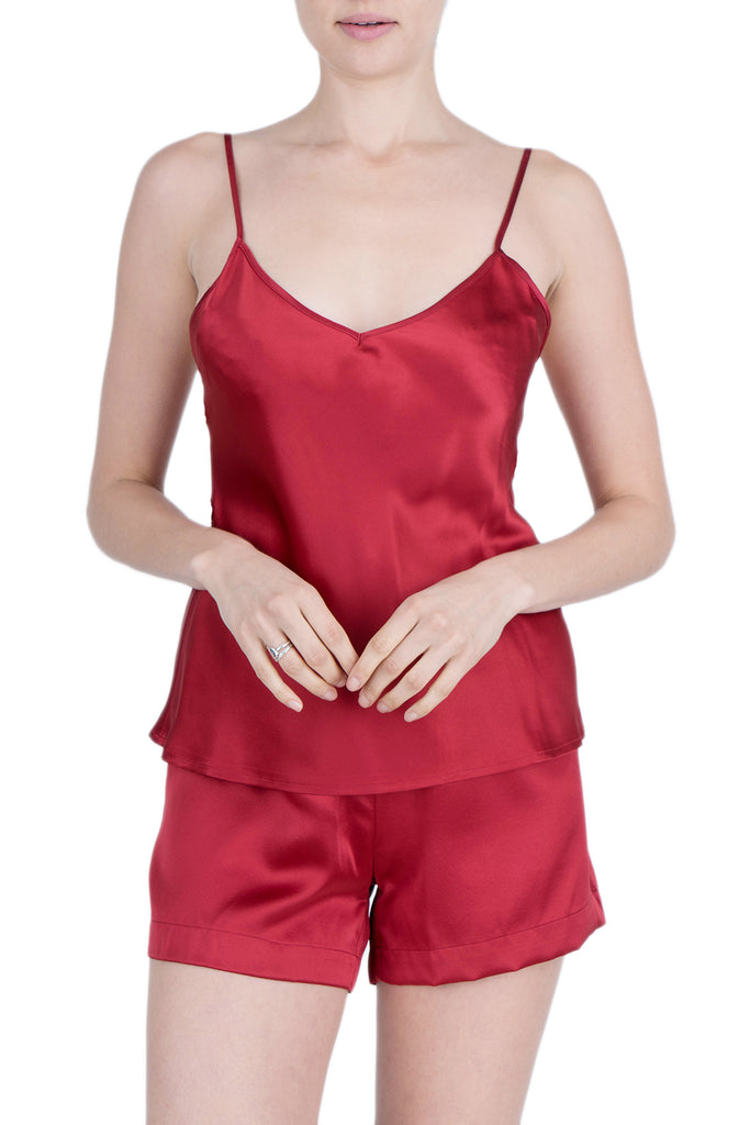 4d25c30fdb9f Women s Luxury Silk Sleepwear 100% Silk Camisole and Shorts Babydoll  Lingerie Pajama Set Burgundy -