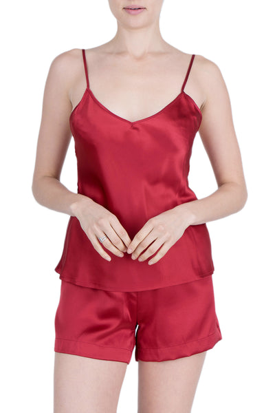 Women's Luxury Silk Sleepwear 100% Silk Camisole and Shorts Babydoll Lingerie Pajama Set