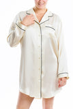 Women's Luxury Silk Sleepwear 100% Silk Long Sleeve Sleepshirt - Oscar Rossa