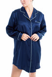 Women's Luxury Silk Sleepwear 100% Silk Long Sleeve Sleepshirt