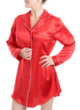 Women's Luxury Silk Sleepwear 100% Silk Long Sleeve Sleepshirt Red