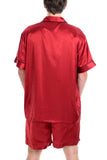 Men's Luxury Silk Sleepwear 100% Silk Short Sleeve Top Short Pant Boxer Pajamas Set - Oscar Rossa