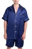 Men's Luxury Silk Sleepwear 100% Silk Short Sleeve Top Short Pant Boxer Pajamas Set
