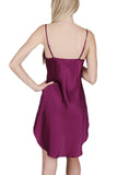 Women's Luxury Silk Sleepwear 100% Silk Round Neck Shirttail Slip Chemise Babydoll Nightgown -