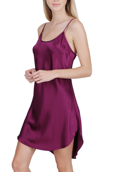 Women's Luxury Silk Sleepwear 100% Silk Round Neck Shirttail Slip Chemise Babydoll Nightgown - Oscar Rossa