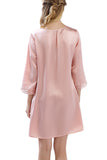 Women's Luxury Silk Sleepwear hand crocheted ¾ sleeves 100% Silk Nightgown Sleep Dress - Oscar Rossa