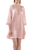 Women's 100% Silk Nightgown with Handmade Lace -OSCAR ROSSA