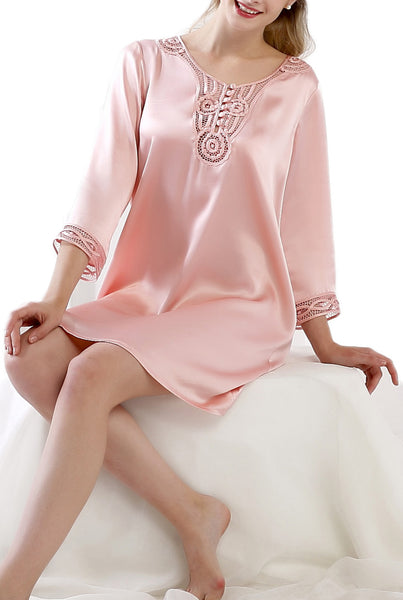 Women's Luxury Silk Sleepwear hand crocheted ¾ sleeves 100% Silk Nightgown Sleep Dress -