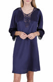 Women's Luxury Silk Sleepwear hand crocheted ¾ sleeves 100% Silk Nightgown Sleep Dress