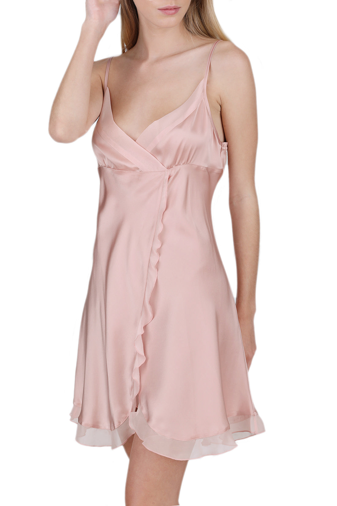Oscar Rossa Women's 100% Silk Slip Chemise with Sexy Front Slit -