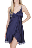 Women's Luxury Silk Sleepwear Babydoll Lingerie Nightgown 100% Silk Slip Chemise with  Sexy Front Slit - Oscar Rossa