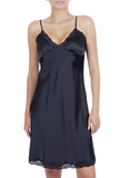 Women's 100% Silk Chemise with V Neck Lace -OSCAR ROSSA