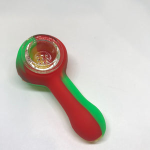 Silicone hand spoon pipe with Glass Bowl