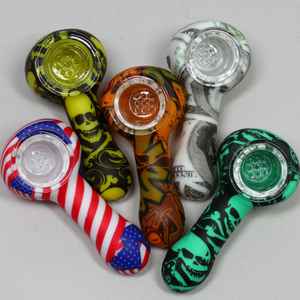 THEMED SILICONE HAND SPOON PIPE with Glass Bowl