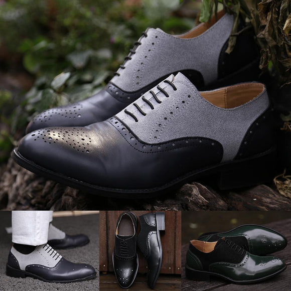 Men's Shoes - Men Handmade Dress Leather Brogue Two Tone Shoes