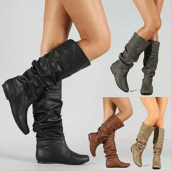 Women's Shoes - Fashion Casual Mid-Calf Leather Winter Warm Round Toe Slip-On Flat Snow Boots
