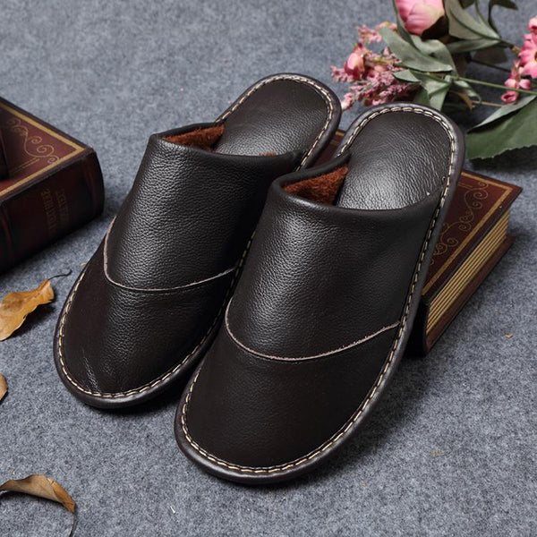 Men Leather Comfortable Slippers With Fur
