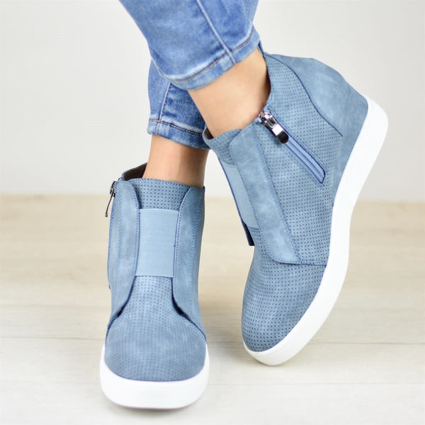 Women Wedges Suede Inner Height Zipper Boots Shoes