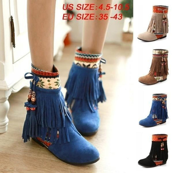 Shoes - New Fashion Women Causal Plus Size Tassel Ankle Boot