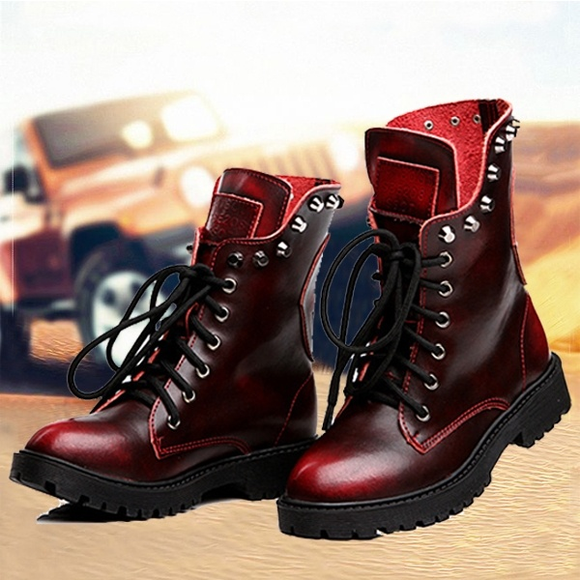 Shoes - Fashion Women's British Style Skull Rivets Martin Boots