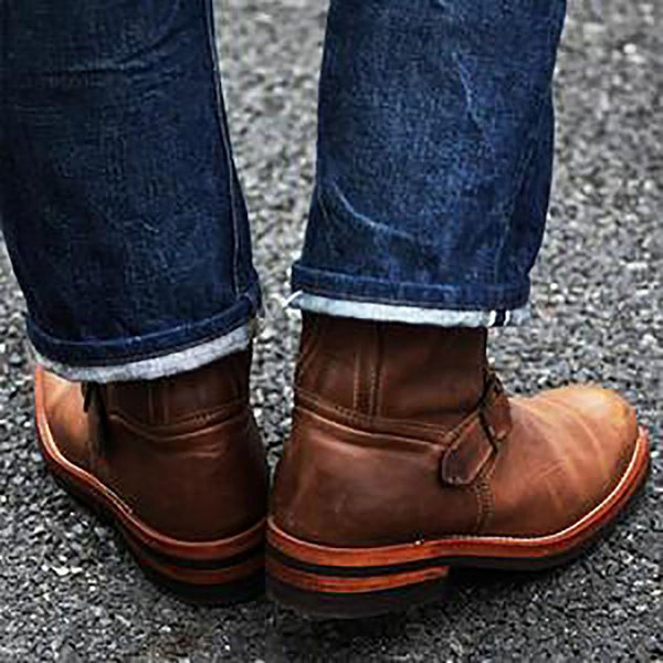 Men's Boots - Fashion Men Low-Heeled Knight Boots