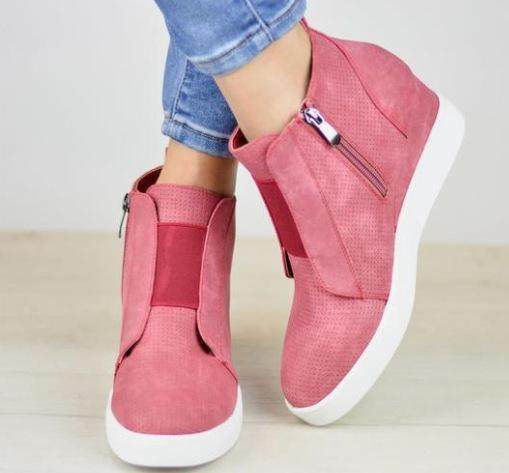 2019 New arrival Women Wedges Suede Inner Height Zipper Boots Shoes