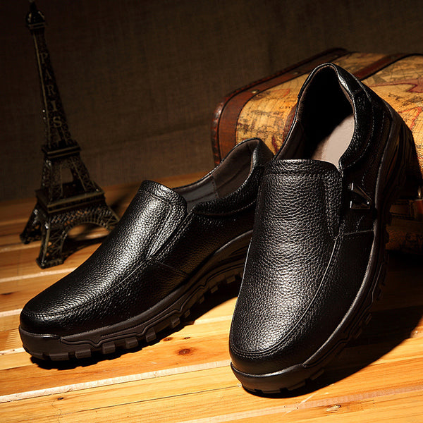 Men Shoes - 2019 Natural Cowhide leather Simple Fashion Father Shoes