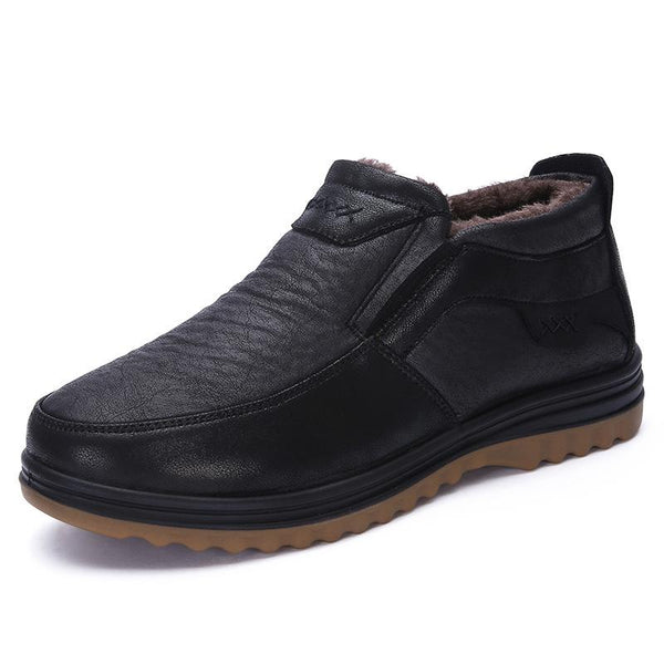 2019 Men's Casual Comfortable Warm Flat Slip On Leather Shoes