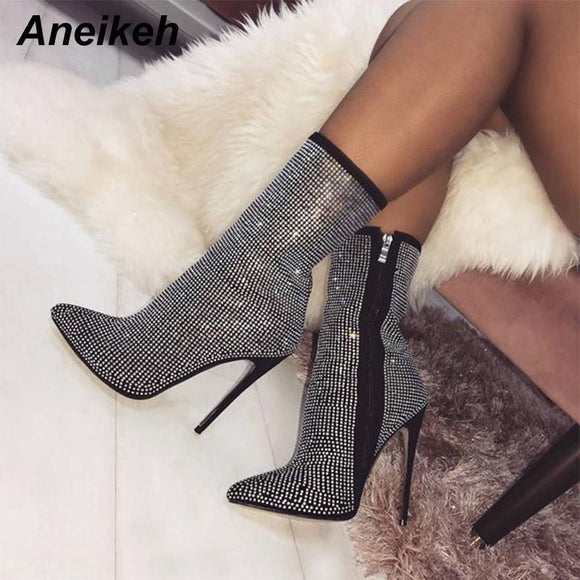 Women Shoes - Woman Zip Pointed Toe Sexy Crystal Motorcycle Boots