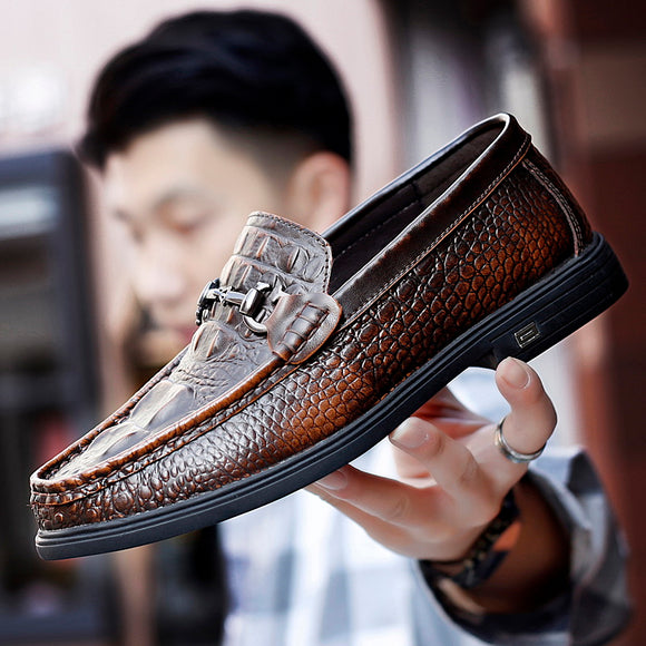 Jollmall Men Shoes - Luxury Crocodile Leather Slip On Casual Shoes(Buy 2 Get 10% off, 3 Get 15% off Now)