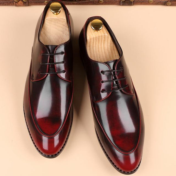 Men Fashion Business Bullock Leather Pointed Toe Bright Casual Wedding Dress Shoes