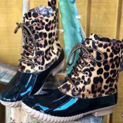 Women Leopard Waterproof Snow Boots
