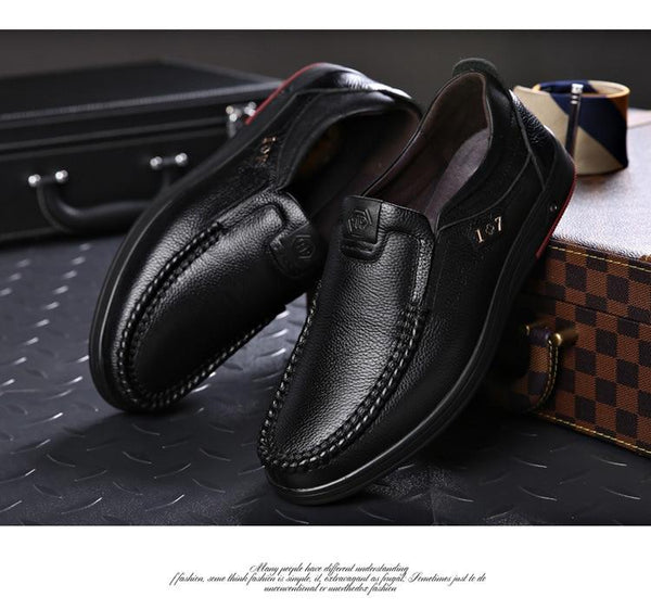 Men Solid Slip On Genuine Leather Shoes