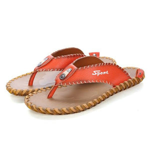 2019 Genuine Leather Men Summer Slippers Beach Sandals