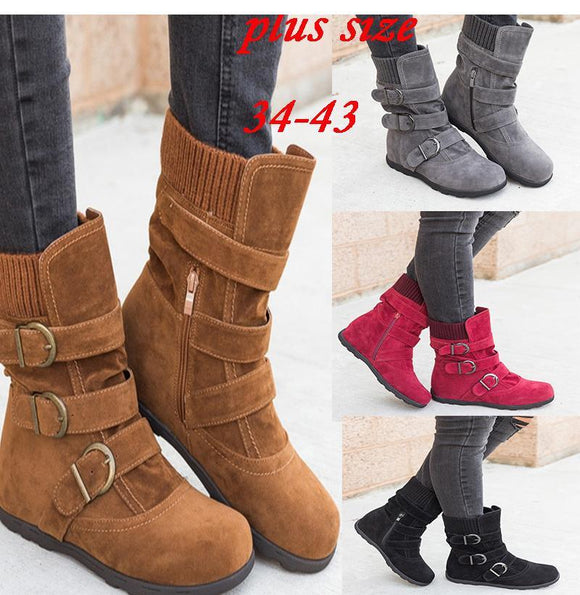 2019 New Fashion Retro Women Buckle Ankle Boots